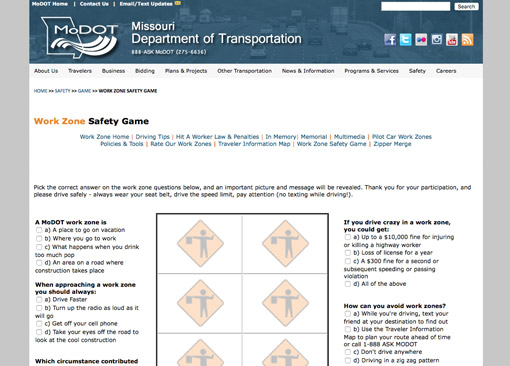 Take the Work Zone Safety Game Challenge